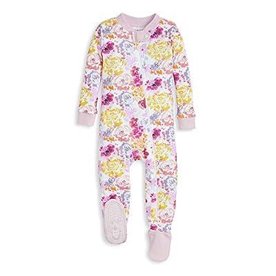 Burt's Bees Baby Baby Girls Pajamas, Zip Front Non-Slip Footed Sleeper PJs, 100% Organic Cotton, Rose Violet, 18 Months