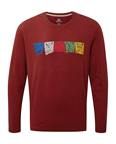 SHERPA ADVENTURE GEAR Herren Men\'s Tarcho Long Sleeve Tee T-Shirt, POTALA ROT, Large