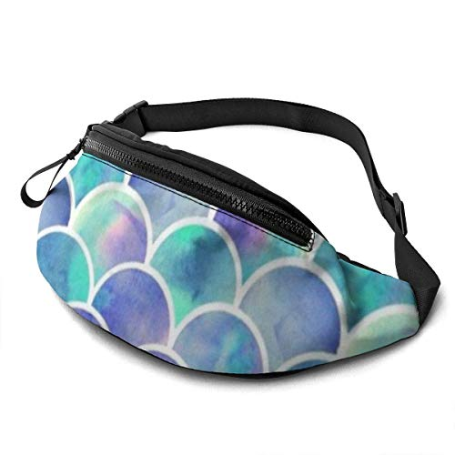 Corner Time Small Artificial Flowers Unisex Casual Waist Bag Beautiful Fish Scale Colorful Fanny Pack Money Bum Bag with Adjustable Belt for Running Sports Climbing Travel