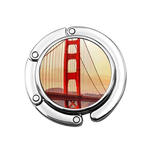 Colgador de Bolso Plegable para Bolso, Gancho para Bolso para Mesa de Coche, Almacenamiento de Bolso Plegable Blue Tourism Golden Gate Bridge In