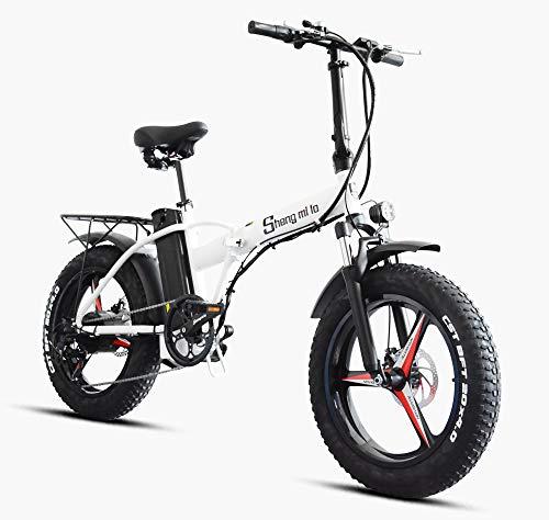 Shengmilo Bicicleta de montaña eléctrica 2020 500W * 48V * 15Ah 20Inch Bicicleta de Ciudad Plegable eléctrica de 7 velocidades Shimano con Pantalla LCD y Rueda integrada para Adultos (Blanco)