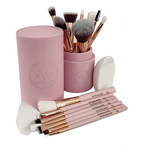 WoWMonde® Set de Brochas de Maquillaje Profesional de 15 Pinceles Suaves y Densos con Estuche Rosa para Guardarlos y Protegerlos, más un Práctico Limpiador de Brochas. Idea de Regalo para Mujer