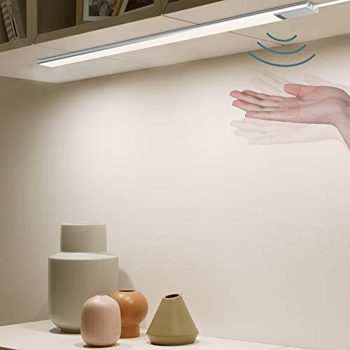 2 Stück EZVALO Unterbauleuchte Küche mit Sensor I 5.9W Naturweiß 4000K Unterschrankleuchte I 0.6M Ultra dünn Schrankleuchten | Schrankbeleuchtung Dimmbar Helligkeit mit 150cm Gleichstromkabeln