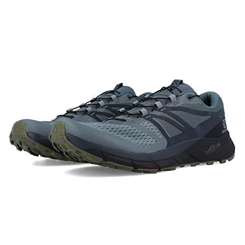 SALOMON Herren Sense Ride 2 Trail Laufschuhe Sneaker, Grau (Stormy Wetter/Ebony/Schwarz), 43 EU