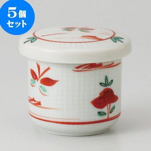 5個セット赤絵花蝶 小むし碗 [ 6.5 x 6.8cm 160g ] 【 小吸碗 】 【 料亭 旅館 和食器 飲食店 業務用 】