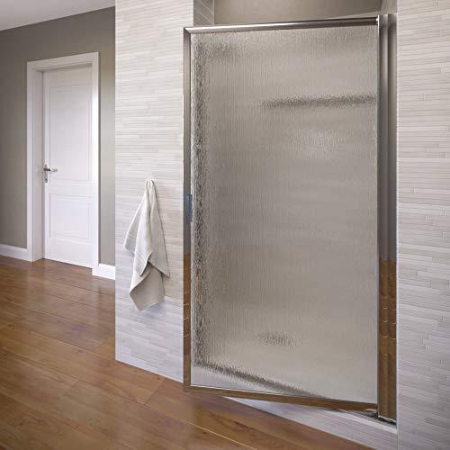 Find Bargain Basco Deluxe 27.75- 29.5 in. Width, Glass Shower Door, Rain Glass, Silver Finish