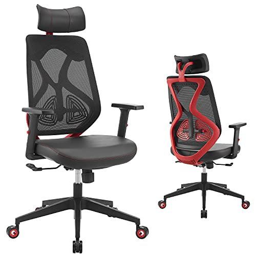 WORKSMYTH Gaming Chair Ergonomic High Back Mesh Computer Desk Chair with Adjustable Headrest Lumbar Support and Armrests, Hubless Wheels