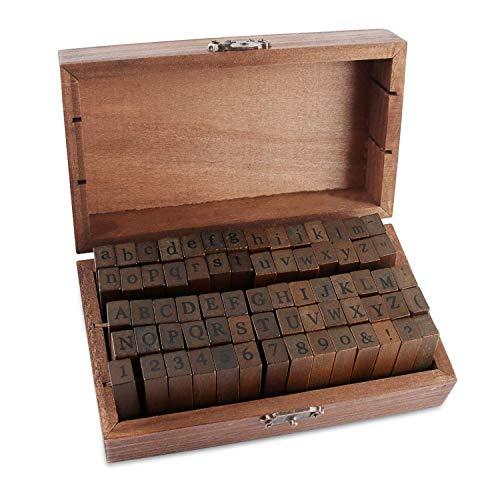 EKKONG Alphabet Stempel Set-70 Stücke Holz Buchstaben Zahlen Set mit Aufbewahrungs Box, Alphabet Stempel Dichtungen Tinten, Buchstaben Briefmarken Set-Großbuchstaben Kleinbuchstaben Zahlen u. Symbole