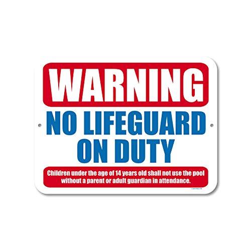 Honey Dew Gifts Pool-Dekoration, Warnung No Lifeguard on Duty, 22,9 cm x 30,5 cm, Metall-Aluminium-Schilder, Schwimmbad-Schilder, für den Außenbereich, hergestellt in den USA