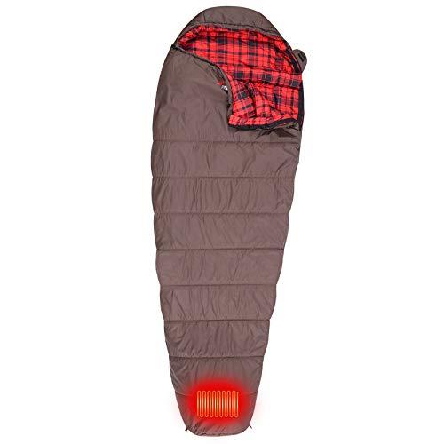 FIRSERMO Elektrisch beheizter Schlafsack, Mumie, Outdoor, leicht, tragbar, wasserdicht, Komfort-Temperaturbereich 30 ~ 30 ℉, 5 V, 2 A, beheizt, perfekt für Erwachsene, Camping/Wandern ...