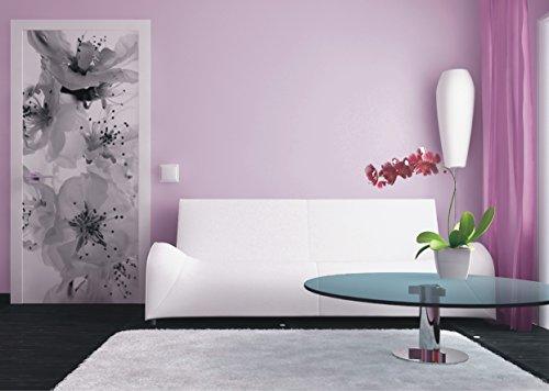 AG Design FTV 0221 zwart en wit bloem, papier fotobehang - 90x202 cm - 1 stuk, papier, multicolor, 0,1 x 90 x 202 cm
