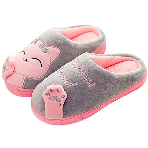 ZOYLINK Scarpe Da Casa Pantofole Da Interno Cute Cat Anti Skid Scarpe Da Casa Calde Per Donna Uomo