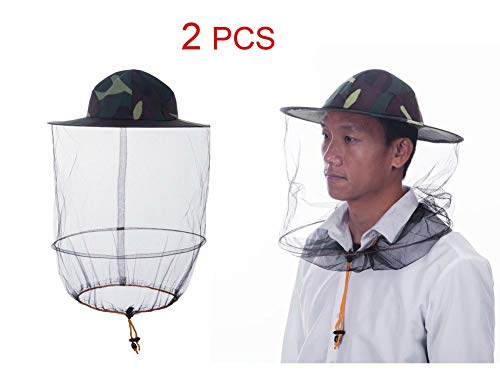 HunterBee Mosquito Head Net Veil Mesh hat/Insect fish Netting hat/ beekeeper hat with veil/ beekeeping protection hat and Veil/ Bug Face Shield/ Soft Durable Fly Screen