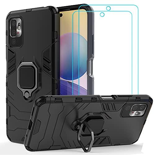 Ytaland Ring Hülle für Xiaomi Redmi Note 10 5G Hülle (Not for 4G), Mit 2 x Panzerglas Schutzfolie, Schutzhülle Cover magnetische Handyhülle Mit 360 ° Verdrehbare Ring (Schwarz)