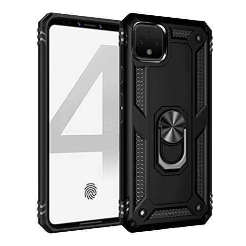 "Google Pixel 3A Case, Extreme Protection Military Armor Dual Layer Protective Cover with 360 Degree Unbreakable Swivel Ring Kickstand for Google Pixel 3A 5.6"" Black"