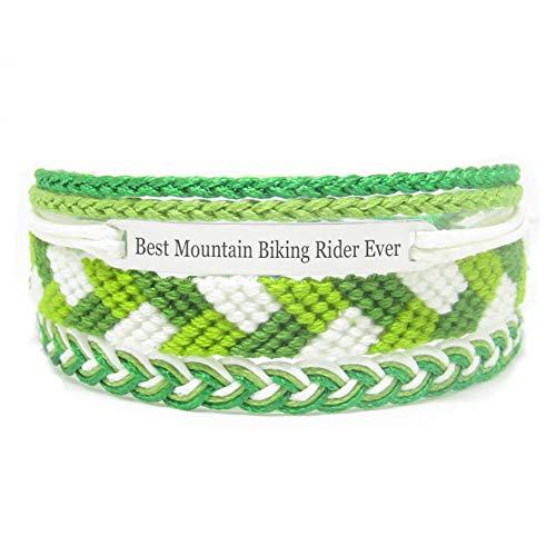 Miiras Braccialetto Fatto a Mano da Donna - Best Mountain Biking Rider Ever - Verde - Realizzato in Filo da Ricamo e Acciaio Inossidabile - Regalo per Cavaliere della Mountain Bike