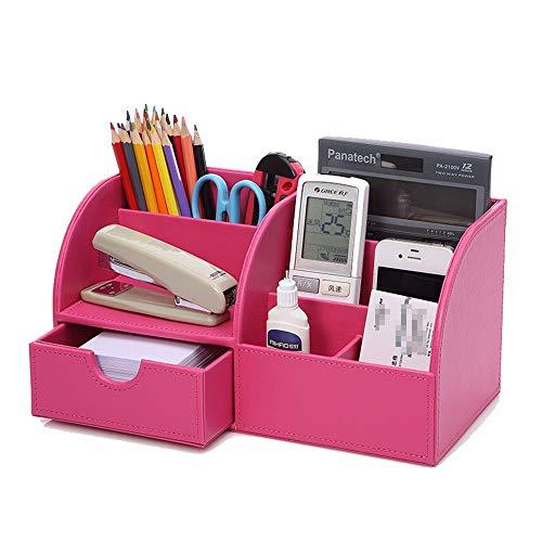 Office Desk Organizer Material for oficina de múltiples funciones de cuero de la PU Organizador de escritorio Organizador de escritorio caja for el lápiz de la pluma tarjetas de visita del soporte del