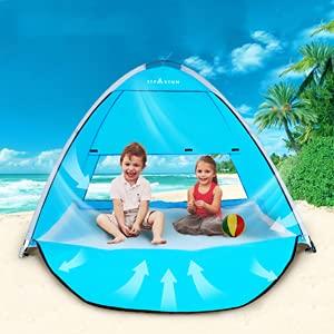 TIYASTUN Porte Pop Up Portable Tente de Plage extérieur Anti UV Plage Abat-Jour Tente Abri Soleil