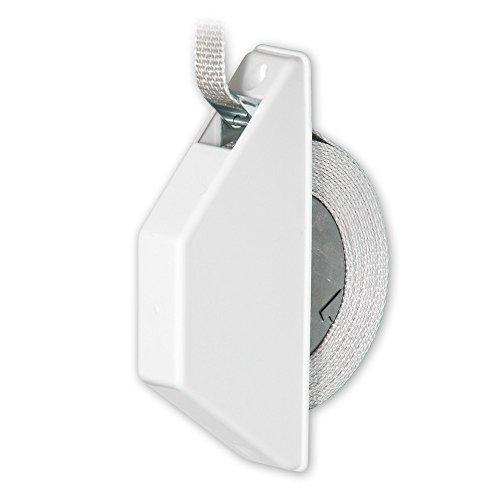 Mini-Halbeinlass-Gurtwickler 'Dimo' mit Abdeckhaube, Farbe: weiß, inkl. Gurt 15 mm x 5 m Länge, Gurtfarbe: grau, Lochabstand: 135 mm, von EVEROXX