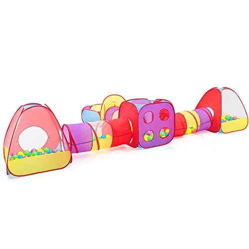 COSTWAY 7-teiliges Kinderspielzelt + 200 Bälle, Bällebad Kinderzelt, Spieltunnel aufklappbar, Krabbeltunnel inkl. Tragetasche, Kriechtunnel, Spielzelt, Babyzelt für 3-5 Jahre alte Kinder, Mehrfarbig