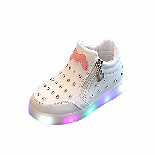 LED Babyschuhe, LANSKIRT Kinder Mädchen Zip Crystal Schuhe LED leuchten leuchtende Turnschuhe Lauflernschuhe Winterschuhe Krabbelschuhe
