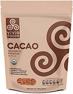 Vivio Foods, Cacao Orgánico En Polvo, 340 gramos
