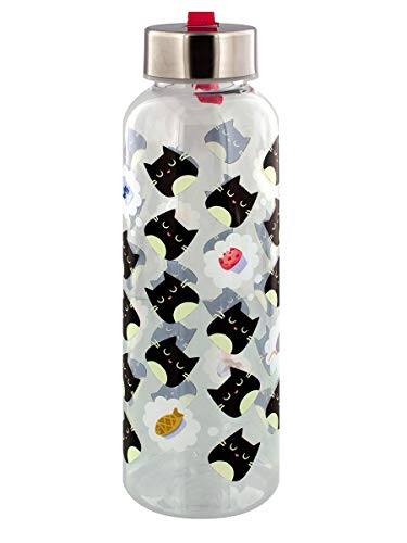 Feline Fine Cat 500ml Water Bottle with Metallic Lid