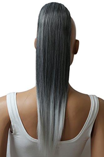 PRETTYSHOP 55cm Haarteil Zopf Pferdeschwanz Haarverlängerung Glatt Grau Mix PH513