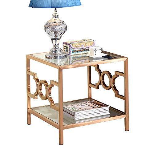 Huis&Geselecteerde meubels/Bijzettafel, Gehard Glas Vierkant 2 Tier Hoek Tafel, nachtkastje voor De Woonkamer Slaapkamer, Rose Goud RVS Frame