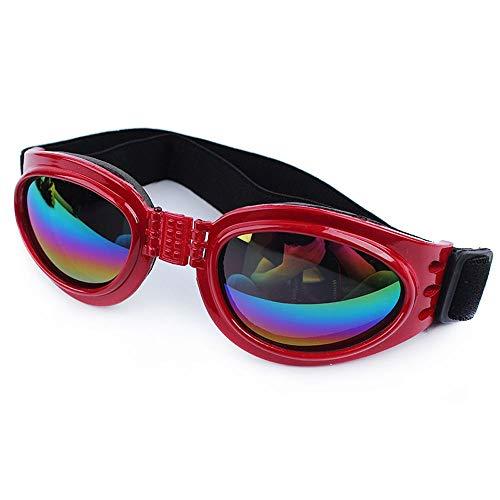 Cestlafit Haustier-Hundeschutzbrillen UV-Sonnenbrille, winddichter Schutz Hündchen-Welpen-Sonnenbrille, Hundebrille für großen Hund, Rot