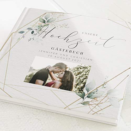 sendmoments Hochzeit Gästebuch Hochzeitsbouquet, individuell mit Wunschtext und persönlichem Foto, hochwertiges Hardcover-Buch, Quadratisch, mit 32 leeren Seiten oder mehr
