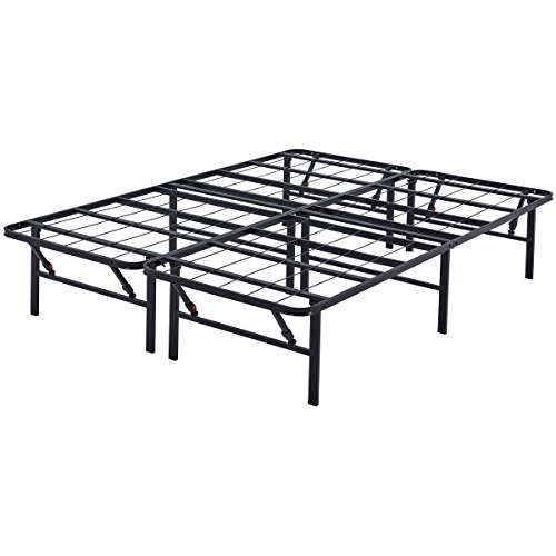 """Mainstay 14"""" High Profile Foldable Steel Bed Frame, Powder-Coated Steel, Full"""