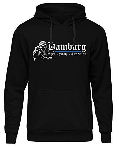 Hamburg Ehre & Stolz Männer und Herren Kapuzenpullover | Fussball Sport Ultras Geschenk | M1 FB (L)
