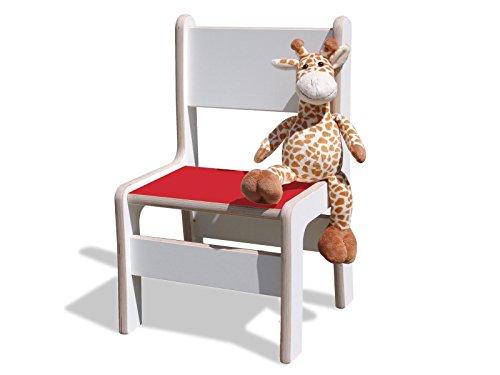 Chaise enfant-blanc avec assise rouge-extrêmement stable.