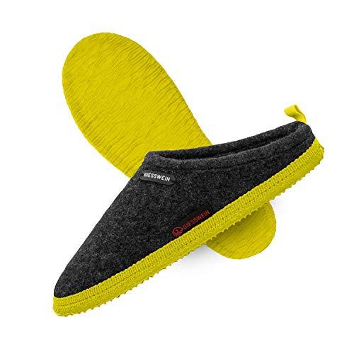 GIESSWEIN Woolpops - Hausschuhe für Damen & Herren, Unisex Filz-Pantoffeln, Slipper mit Rutschfester Naturkautschuk-Sohle, Warme Pantoletten aus Wollfilz