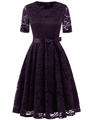 DRESSTELLS Damen Festliches Spitzenkleid Knielang Elegant Brautjungferkleid Abendkleid mit Arm Grape S