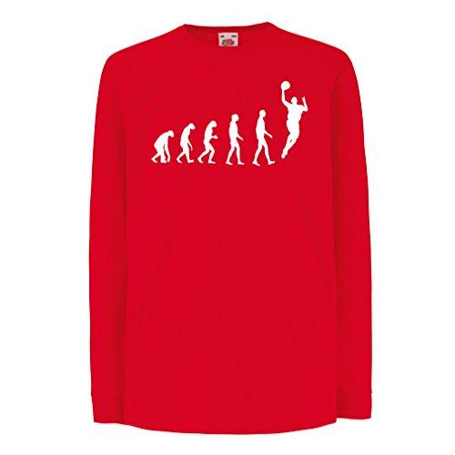 Camisetas de Manga Larga para Niño evolución de Baloncesto - Canasta de la Calle, me Encanta Este Juego, Gran Fan de Regalo (7-8 Years Rojo Blanco)