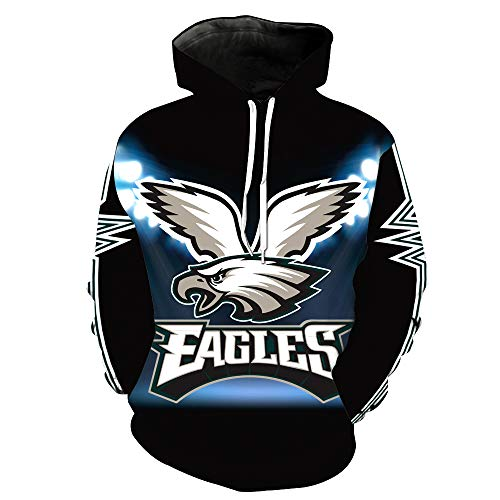 Men's Hooded Long Sleeve 3D Digital Print Philadelphia Eagles NFL Baseball Uniform Football Team Pullover Hoodies (S,Black)