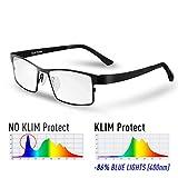 KLIM Protect - Gafas de Nueva generación - Protege los Ojos Frente a la dañina luz Azul de Las Pantallas - Anti Fatiga Ocular - Anti UV - para PC, Smartphone, TV, Tablet, MONITORES