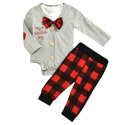 Tianhaik baby jongens Valentijnsdag kleding kostuum 3-delig Gentleman wit korte mouwen rompers + mantel + broek geruit rood