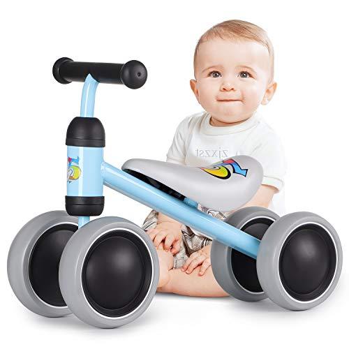 Hadwin Kinder Laufrad ab 1 Jahr Lauflernrad mit 4 Räder für 10-24 Monate Spielzeug Baby Geschenk für Jungen Mädchen,Blau