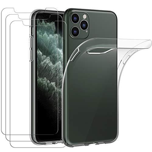 iVoler Custodia Cover per iPhone 11 PRO Max 6.5 Pollici 2019 con 3 Pezzi Pellicola Vetro Temperato, Ultra Sottile Morbido TPU Trasparente Silicone Antiurto Protettiva Case