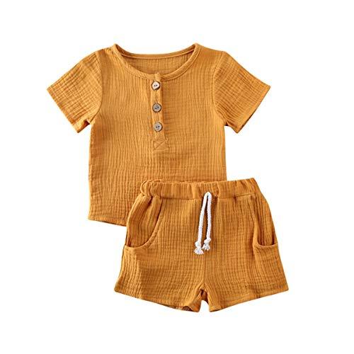 Kleinkind Baby Mädchen Jungen Shorts Set Sommer Outfit Baumwolle Leinen Ärmellos Button Down T-Shirt Top Kurze Hose Einfarbige Kleidung (Yellow, 2-3 Years)