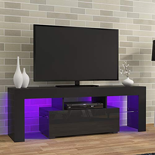 LED TV CABINETS, PALDIN® TV Unit 130cm TV stand with Multi-colour LED RGB Lights Modern High gloss Door & Matt Body TV Cabinet with large media storage drawer for Living Room (Black)