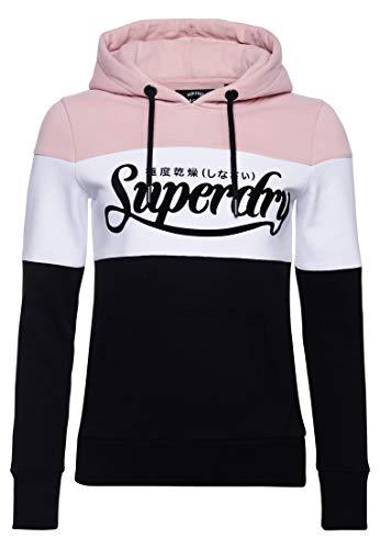 Superdry Damen Premium Logo Loopback-Hoodie mit Farbblock-Design Schwarz 44