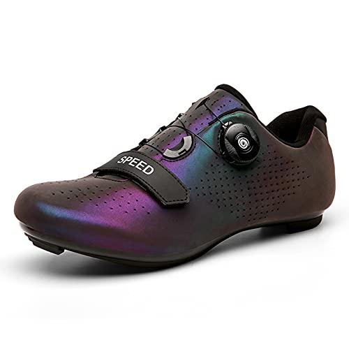 LIXIYU Zapatos de Ciclismo para Hombres, Mujeres, Zapatos de Ciclismo de Carretera SPD, Zapatos de Ciclismo con Hebilla y Cordones con Zapatos de Peloton para, purple-47(UK12)