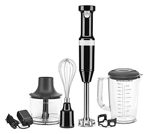 KitchenAid KHBBV53OB Cordless Hand Blender, 8 inch, Onyx Black