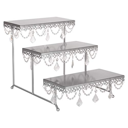 Amalfi Decor 3 Tier Dessert Cupcake Stand, Rectangular Metal Plate Tower Tray Holder with Crystals, Silver