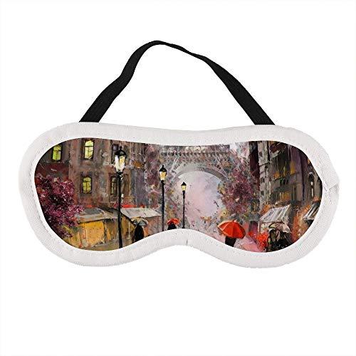 Draagbaar Oogmasker voor Mannen en Vrouwen, Parijs Artwork Eiffeltoren Mensen Onder Een Rode Paraplu De Beste Slaap masker voor Reizen, dutje, geven U De Beste Slaap Omgeving