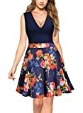 MIUSOL Damen Sommer Kleid V-Ausschnitt Ärmellos Blume Patterned Mini Casual Kleid Navy-Rot S